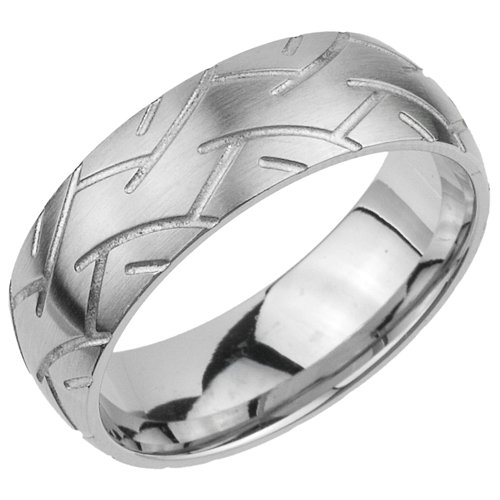 Tire Tread Pattern tr013 Stainless Steel Band Ring 8mm (11)