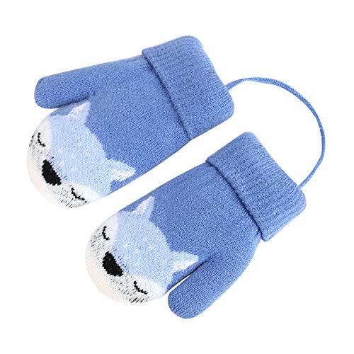 Kinder Winter Handschuhe Fäustlinge Baby Cartoon Fausthandschuh Halshandschuhe Dicke Doppelt Strickhandschuh mit Plüsch,0-3 Jahre alt, Spielen, Laufen, Skifahren Bedarf (Fuchs Blau)