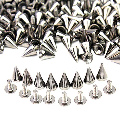 Xinlie Tachuelas con pinchos plateado Cono picos Screwback remaches tachuelas Metal Bullet Stud Spike Punk Cinturón Bolsa Leathercraft Clothes Cone Rivet Cone Spikes Screwback Studs7 × 10mm(100Pieces)