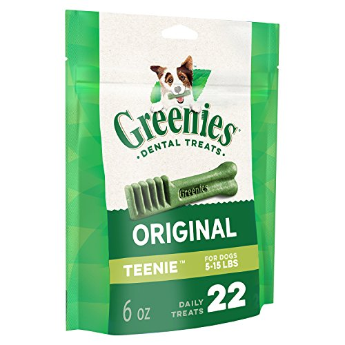 GREENIES Original TEENIE Natural Dog Dental Care Chews Oral Health Dog Treats, 6 oz. Pack (22 Treats)