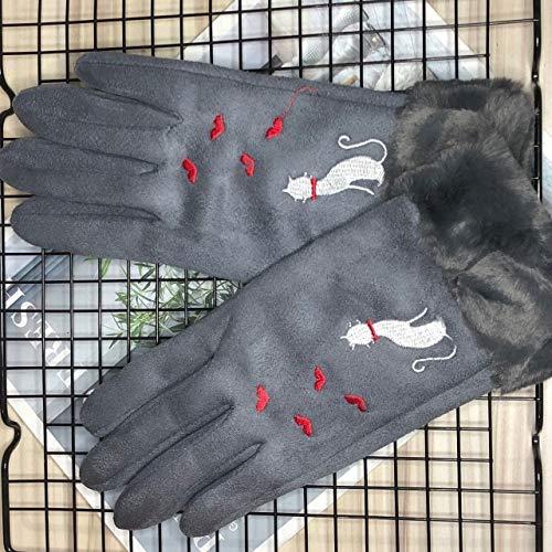 Nuevo Invierno Mujer Encaje Cálido Cachemira Tres Costillas Lindo Oso Mitones Doble Grueso Felpa Muñeca Mujeres Pantalla Táctil Guantes de Conducción-D Gray Single Layer
