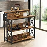 Tribesigns Bar Table, Pub Dining Height Table, Kitchen Counter with Storage Shelves, Industrial Pub Table with Glass Holder, Bistro Table for Kitchen/Dining Room/Living Room/Party Room