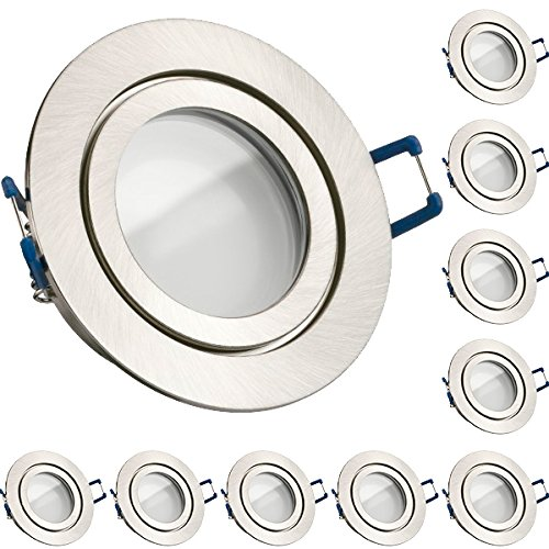 10er IP44 LED Einbaustrahler Set Silber gebürstet mit LED GU10 Markenstrahler von LEDANDO - 5W - warmweiss - 120° Abstrahlwinkel - Feuchtraum/Badezimmer - 35W Ersatz - A+ - LED Spot 5 Watt - Einbaul