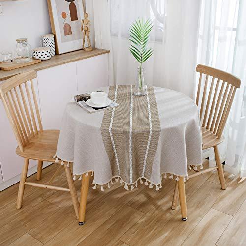 YCZZ Katoen en linnen klein vers tafelkleed, ronde tafel salontafel rond tafelkleed tafelkleed