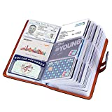 Credit Card Holder for Multiple Cards and Credit Card Organizer with Plastic Sleeves,PU Leather Business Card Organizer Holder with 95 Standard Storage Capacity (Black)