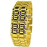 Fashion Men's Simple Youth Sports Watch Electronic Binary Digital LED Lava Alloy Rectangular Chain Watch (Men Gold Blue)