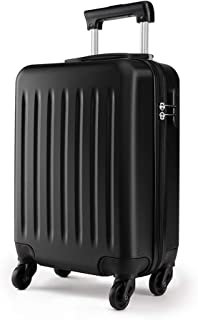 Kono 19 inch Carry On Luggage Lightweight Hard Shell ABS 4 Wheel Spinner Suitcase (Black)