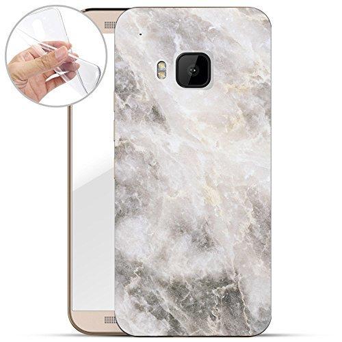 Finoo | HTC One M9 Weiche Flexible Silikon-Handy-Hülle | Transparente TPU Cover Schale mit Motiv | Tasche Hülle Etui mit Ultra Slim R&um-Schutz | Marmor 01