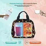 Bolsa de almuerzo, con forma de corazón dorado, bolsa de almuerzo, bolsa de almacenamiento de alimentos con cremallera, para hombres, niñas, niños, al aire libre, picnic, trabajo