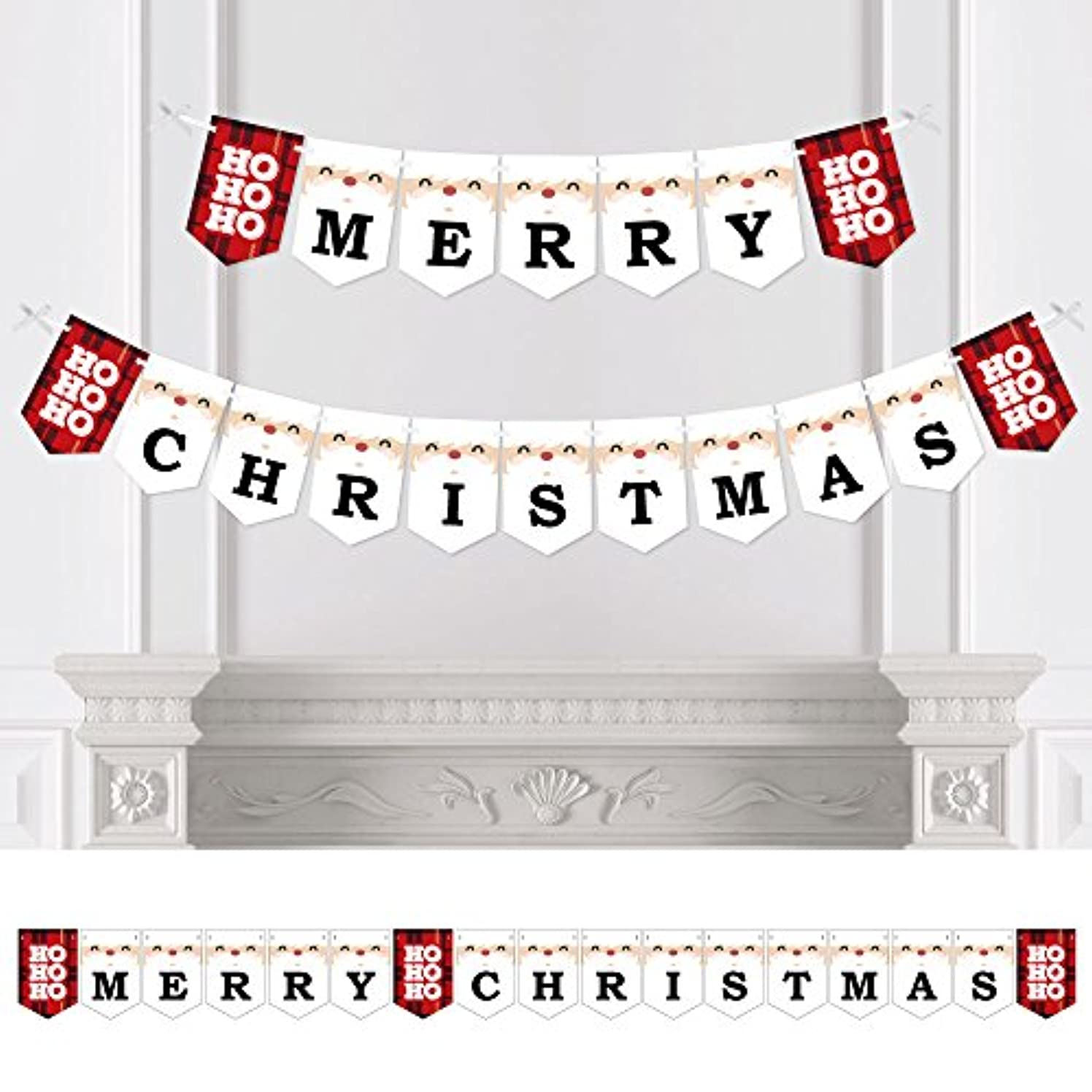 Big Dot of Happiness Jolly Santa Claus - Christmas Party Bunting Banner - Holiday Party Decorations - Merry Christmas