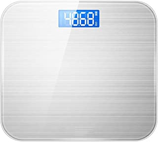 YQSHYP Weight Scale, High Accuracy Digital Bathroom Scale, Electronic Weighing Scales with Wide Tempered Glass Platform,Slim 5mm Design, 180kg Capacity, Silver