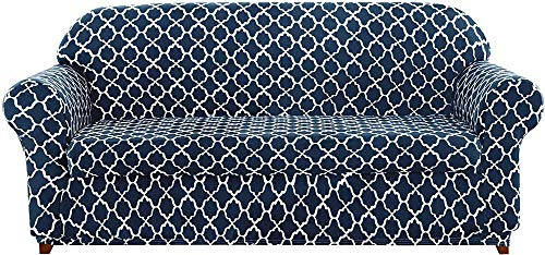 ZHHZ 2-teilige universelle Sofabezüge, Jacquard Stretch Sofabezug Sesselbezüge 1 2 3 4-Sitzer Polyester Spandex Blumenmuster Anti-Rutsch-Couch Schonbezug für Haustiere (Marineblau, 4-Sitzer/Sof