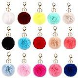 NATUCE 15 Pcs Llaveros de Pompon, 14 cm Pompones de Colores Llavero para Bolso, Mochila, Teléfono móvil, Llavero de Coche Decoración Accesorio