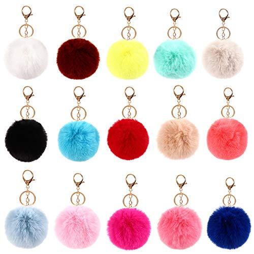 Kissral 15 Pcs Schlüsselanhänger Plüsch Pompom Ball Taschenanhänger bommel schlüsselanhänger puschel Handtasche Anhänger