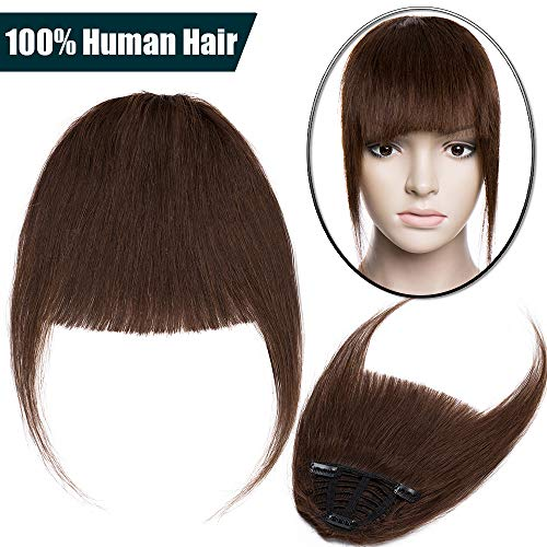 Frangia Clip Capelli Veri Extension Frangetta Fascia Unica Hair Bang Voluminoso 100% Remy Human Hair Lisci Umani Fringe Effetto Naturale 25g #4 Marrone Cioccolato