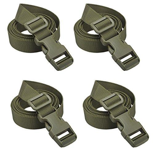 Molle スーツケースベルト 荷崩れ防止 調整可能 梱包バンド(グリーン-4pcs)