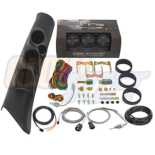 GlowShift Diesel Gauge Package for 1998-2002 Dodge Ram Cummins 2500 3500 - Black 7 Color 60 PSI Boost, 2400 F Pyrometer EGT & Transmission Temp Gauges - Black Triple Pillar Pod w Speaker Cutout