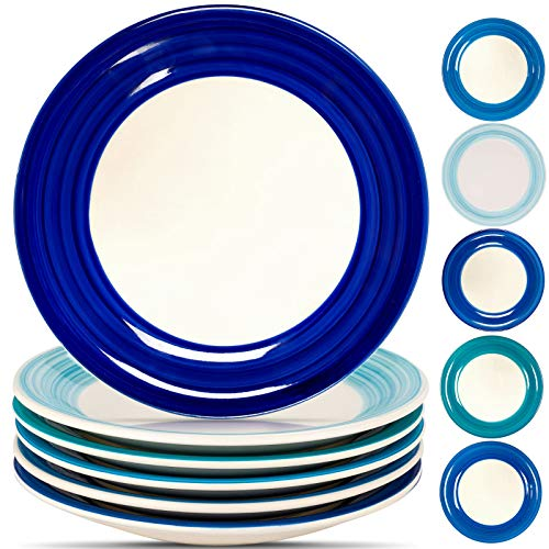 Reomore Dinner Plates Set of 6, Ceramic Pizza/Pasta Plate -10.4 inch- Dishwasher Microwave Freezer...
