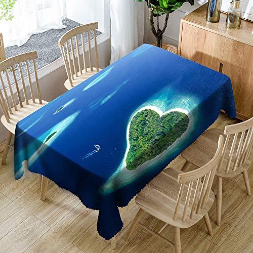 XXDD 3D-Seestückmuster wasserdichte Tischdecke Seestern verdickt staubdichte rechteckige Tischdecke für Hochzeit A3 140x200cm