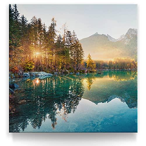 BilderKing Wunderschönes Wasserfall Wand-Bild quadratisch 80x80cm groß als Leinwand-Bild. Modernes Deko Leinwandbild Wasserfall Hintersee Bayern Deutschland für Küche Wohnzimmer Schlafzimmer