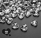 Sweelov 500Stk Funkelnd Herzen Diamantkristalle Streudeko Deko Steine Kristalle Konfetti Diamanten 12mm