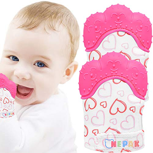 NEPAK 2 Pcs Gant de Dentition pour Bébé,Mitaines de Dentition pour Bébés,Moufle Jouet de Dentition en Silicone,Âge 3–12 Mois Protéger Bébé(Joli Cœur Doux,Rose)