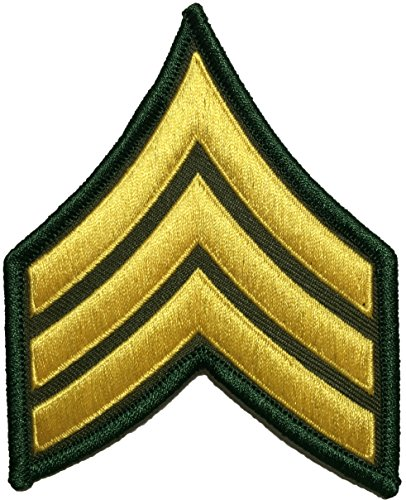 U.S. Army Sergeant E-5 Stripes Army Uniform Chevrons Rank Sew on Iron on Arms Shoulder Embroidered Applique Patch - Gold on Green - By Ranger Return (RR-IRON-SERG-E503-GRGL) by Ranger Return