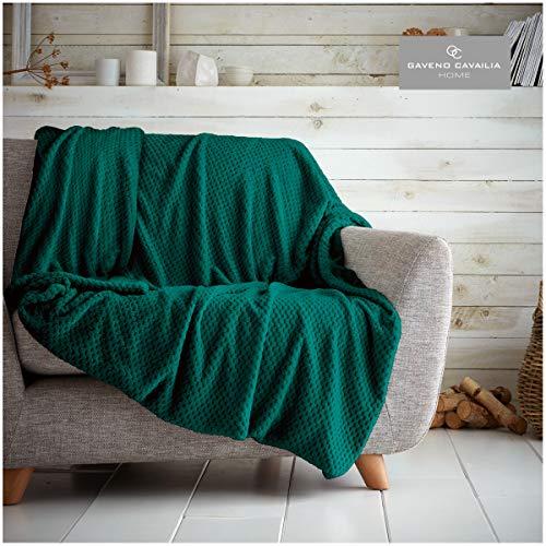 Gaveno Cavailia - Manta para sofá o Cama (130 x 150 cm), diseño de Palomitas de maíz, Color Verde