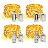STANBOW Led Lichterkette Batterie 5m Kupferdraht Lichterkette mit Fernbedienung Innen außen Fairy Lights für Zimmer, Party, Hochzeit, Weihnachten usw. (4 Stück/Warmweiß)
