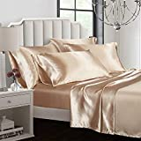 AiMay 6 Piece Bed Sheet Set Deep Pocket Luxury Rich Silk Satin Silky Super Soft Solid Color Hypoallergenic Reversible Stain-Resistant Wrinkle Free (King, Khaki)