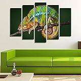 5 Stück Wandkunst Leinwand Malerei Tier Poster Chamäleons