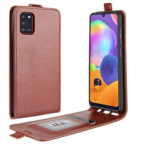 JIAHENG Phone Case For Galaxy A31 R64 Texture Single Vertical Flip Leather Protective Case with Card Slots & Photo Frame PU Leather Cover Shell (Color : Brown)