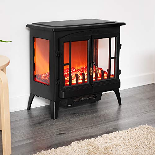 Fineway Electric Stove Heater with Log Burner Flame Effect Fire – 2000W,...