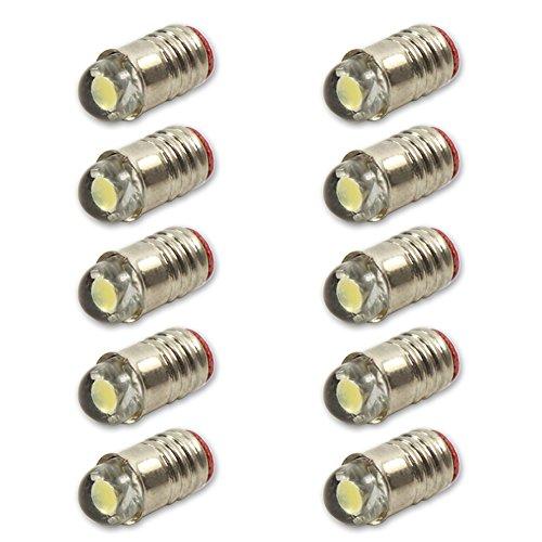 Evemodel E501W NEU 10 STK. weiß LED 12V-14V Leuchtmittel für Fassung E5 E5.5 Schraubgewinde H0 für Metallleuchter