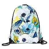 uykjuykj Bolsos De Gimnasio,Mochilas,Lovely Elephant Sackpack Drawstring Backpack Waterproof Gymsack Daypack For Men Women Feather Floral4 Lightweight Unique 17x14 IN