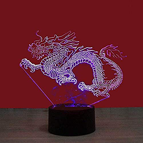 China Dragon Kleurrijke 3D Nachtlampje USB Touch Gradient Vision LED-licht huishouden bedlampje kunst licht kind cadeau