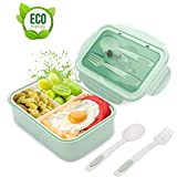 Bento Box, Lunchbox Kinder, Brotdose Kinder, Lunchbox mit 3 Fächern und Besteck, Auslaufsichere Brotzeitbox...
