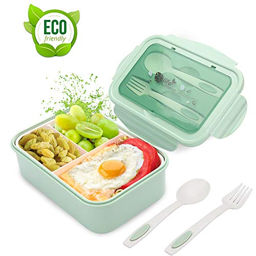 LAKIND Lunch Box, Porta Pranzo, 1400ml Kids Bento Box con 3 Scomparti e Posate(Forchetta e Cucchiaio), Lavastoviglie/Approvato dalla FDA/Senza BPA. (Verde)