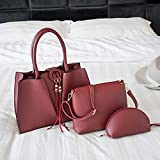 FDR Bolsos de cuero vegano para mujer, bolsos de hombro con asa superior, 3 piezas, bolso casual cruzado (color: rojo)