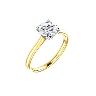 14K Yellow and White Gold 1 CT Lab-Grown & .01 ct Natural Diamond Accented Engagement Ring Size 7 for Women
