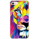 GIRLSCASES® | Hülle kompatibel für iPhone 8/7 | Fashion Hülle Schutzhülle im Löwen Motiv Muster | in bunt | Fashion Hülle durchsichtige Schutzhülle aus Silikon