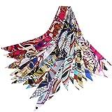 スカーフ レディース シルク 髪飾り バッグ飾り 持ち手 小物 アクセサリー 通勤 パーティー用 12枚セット 服に組み合わせ易い (スカーフ2)