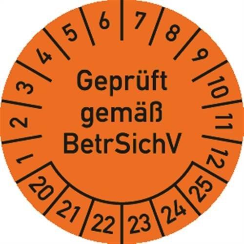 Prüfplakette Geprüft gemäß BetrSichV, 2020 - 2025, Dokumentenfolie, Ø 3cm, 100 Stück