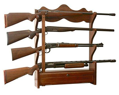 NEW Wooden Wall Mount/Hung Gun Storage & Display Rack Holds 4 Rifles/Shotgun