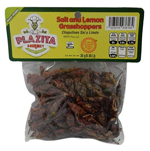 Chapulines Oaxaca (grasshoppers) - Gourmet edible insects from Oaxaca Mexico 30 G - 1.06 Oz (Salt and Lemon)
