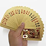kengbi Goldene Spielkarten Deck of Goldfolie Poker Set Magic Cards 24 Karat Goldfolie Poker Durable Waterproof Cards