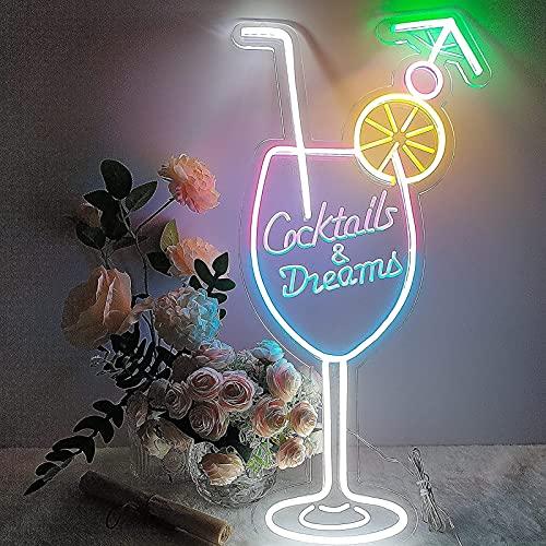 カクテル&ドリームカップネオンサインアダプター調光スイッチ 導いたネオンサインアートウォールライトビールバークラブベッドルーム窓ガラスホテルパブカフェの結婚式の誕生日パーティーギフト