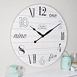 FirsTime & Co. Shiplap Chic Wall Clock, 27, Aged White