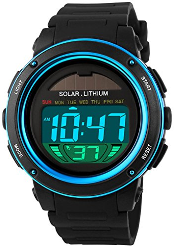 Fanmis Multi Function Alarm Stopwatch Digital LED Quartz Watch Solar Power Black Sports Watches (Blue)