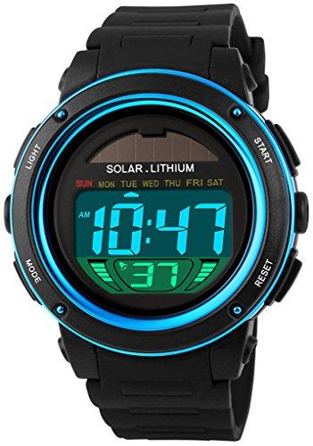 Fanmis S-Shock Multi Fonction numérique LED Montre à Quartz à énergie Solaire Noir Sport Montres...